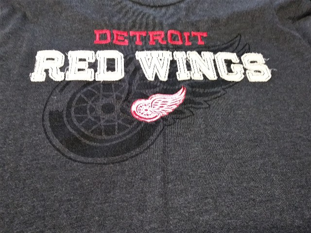 Knight's Apparel Charcoal Gray Detroit Red Wings T-Shirt Sz L 42-44 NHL Hockey