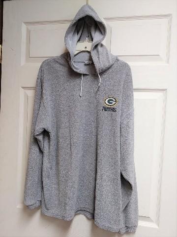 True Fan Green Bay Packers Gray Fleece Pullover Hoodie Size M Football