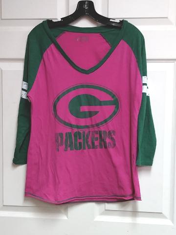 G-III NFL Pink   Green Bay Packers 3 4 Sleeve V-Neck T-Shirt Womens Size XL   4e1e27da2