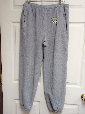 NFL Green Bay Packers Gray Fleece Sweatpants Jogging Pants Size L Football