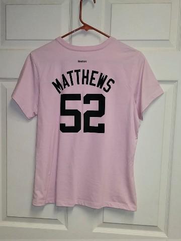 Reebok RBK Pink Green Bay Packers T-Shirt #52 Clay Matthews Womens Size L