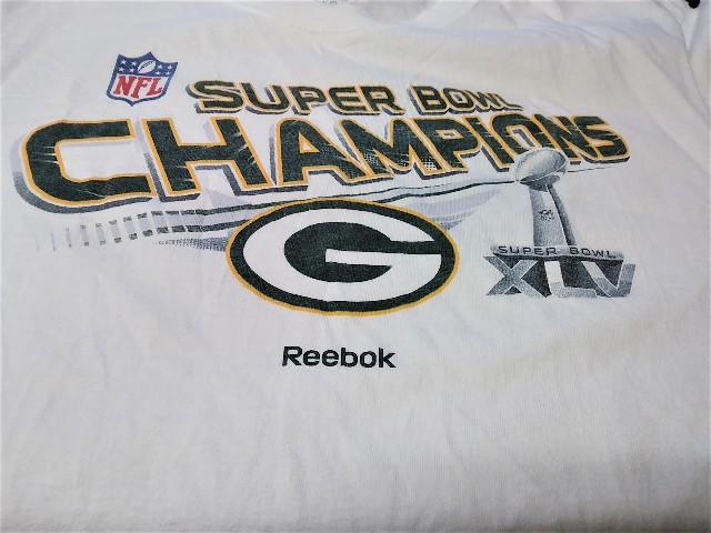 Reebok White Green Bay Packers Super Bowl XLV 45 Champions T-Shirt Size XL