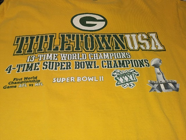 NFL Team Apparel Yellow Green Bay Packers Titletown USA T-Shirt Size M Football