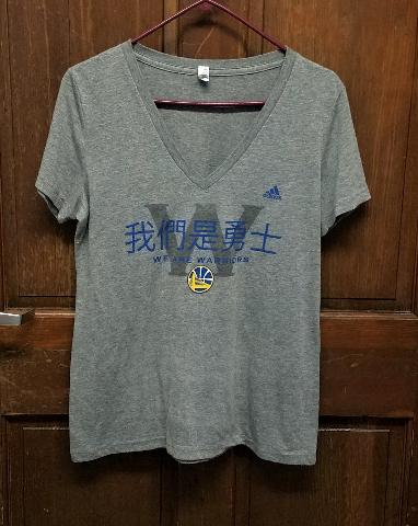 Bella Gray Golden State Warriors Graphic T-Shirt Chinese Writing Juniors Sz 2XL