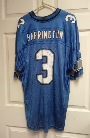 Reebok Equipment NFL Blue Detroit Lions Joey Harrington #3 Jersey Shirt Size L