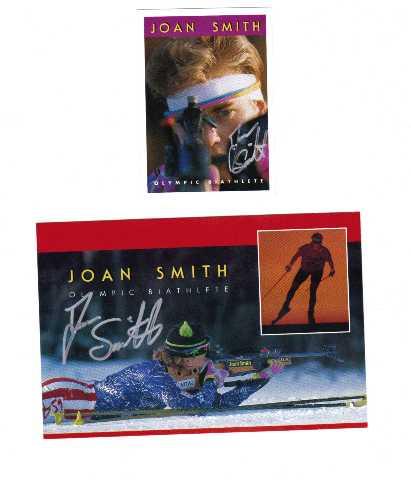 2 JOAN SMITH Olympic Biathlete Autographed Cards Biathlon Winter 1992 1994
