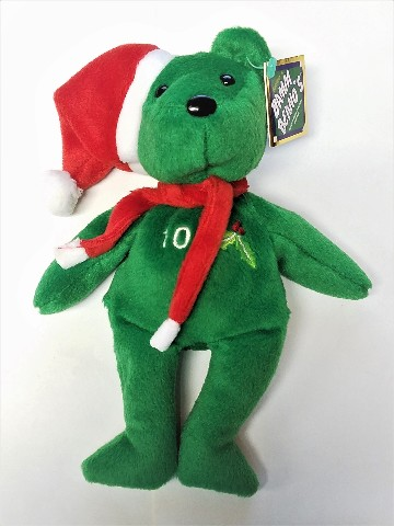 Salvino's Bamm Beano's Chipper Jones #10 Green Christmas Beanie Plush Bear