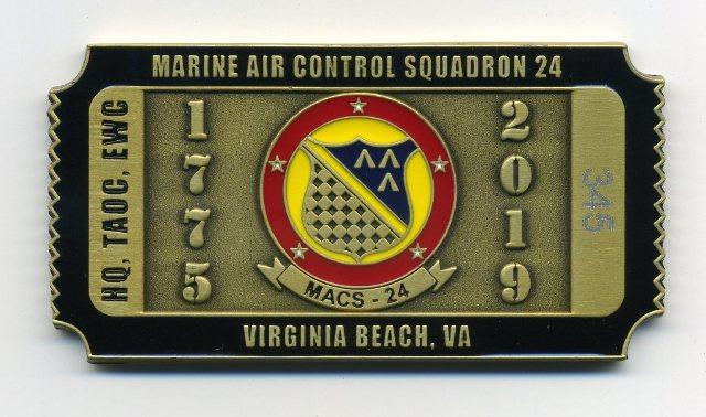 USMC Marine Air Control Squadron 24 MACS-24 Virginia Beach Challenge Coin