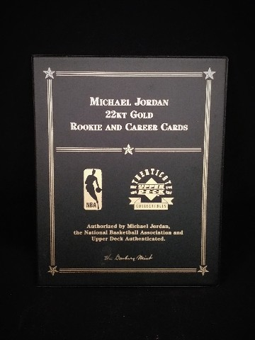 Danbury Mint Michael Jordan 22kt Gold Rookie and Career Cards Upper Deck 1999