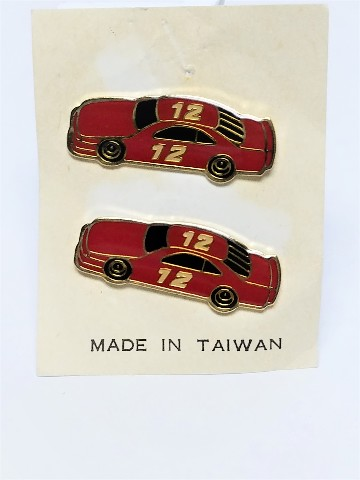 Vintage Unbranded NASCAR Enamel Post Earrings #12 Red Car Gold Trim