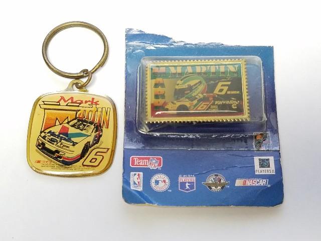 Vintage Mark Martin #6 Valvoline Keychain & Wincraft Lapel Tack Pin NASCAR