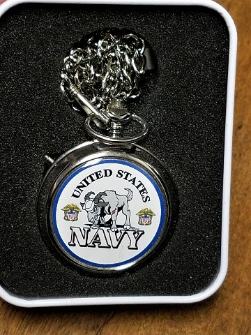 Westminster US Armed Forces NAVY Pocket Watch - In Tin - Plays Reveille