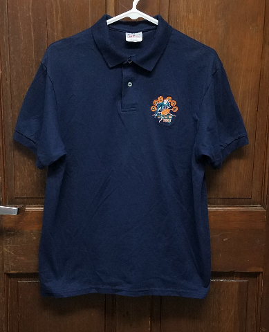 Stedman Miami Dolphins DOL-FAN CLUB 2003 Navy Blue Polo Shirt Men's Size L 42-44