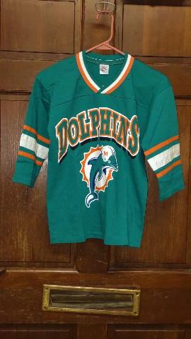 Vintage GTS Miami Dolphins Teal Single Stitched Shirt Boys Size 10/12 Medium