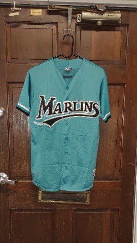 Vintage Majestic Authentic MLB Rare Florida Marlins Teal Baseball Jersey Size L