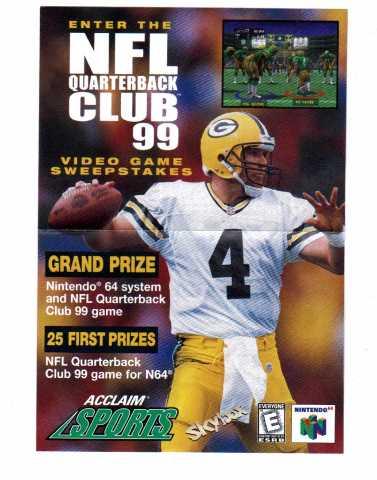 Vtg NFL Quarterback Club '99 Video Game Sweepstakes Entry Form N64 Brett Favre