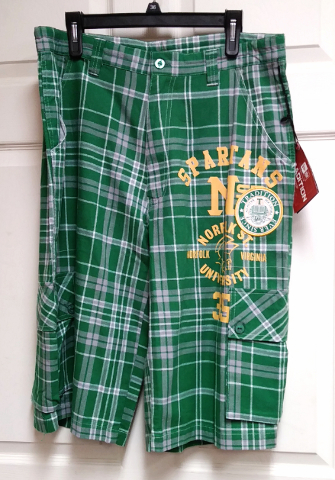 New Era NSU Norfolk State Spartans Green Plaid Trunks Shorts Men's Size 36 NCAA