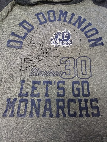 Rivalry Threads 91 ODU Old Dominion Monarchs Blue & Gray 1/2 Sleeve Shirt Sz S