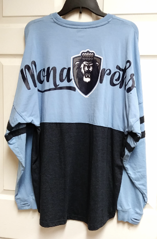 Three Square ODU Old Dominion Monarchs Blue Black Long Sleeve T-Shirt Sz L NCAA