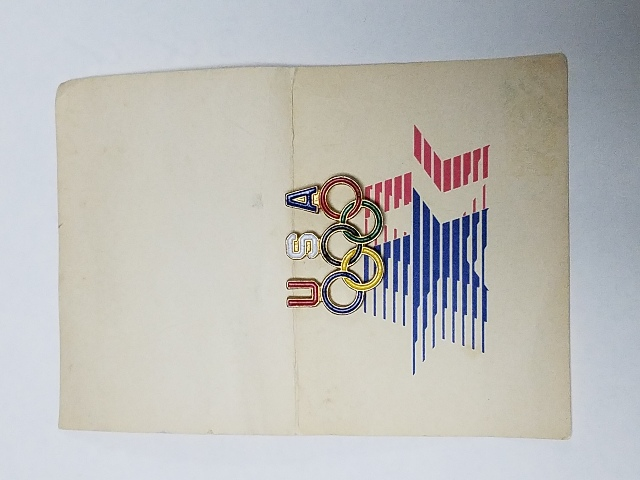 Vintage Olympics Lapel Pin 5 Olympic Rings USA Red White Blue NOS NOC