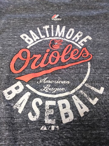 Majestic Baltimore Orioles Marled Charcoal Gray Graphic T-Shirt Size S MLB