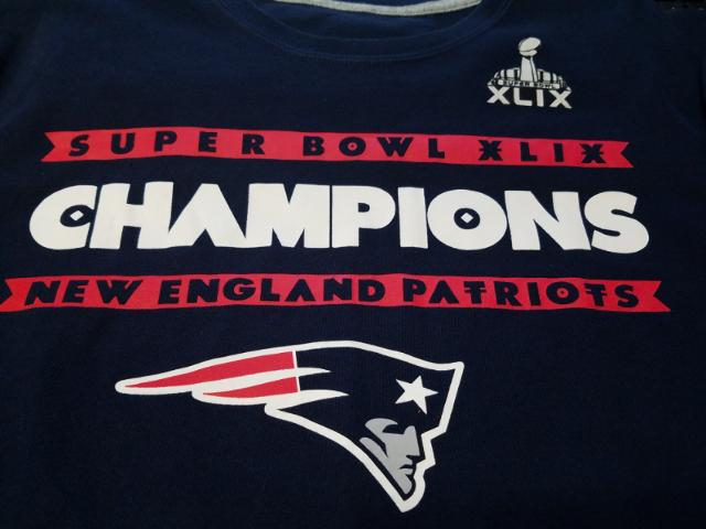 New England Patriots Super Bowl XLIX 49 Champions Blue T-Shirt Size XL NFL