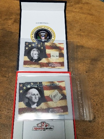 2020 A Word From The President George Washington & Andrew Jackson Relic Cards
