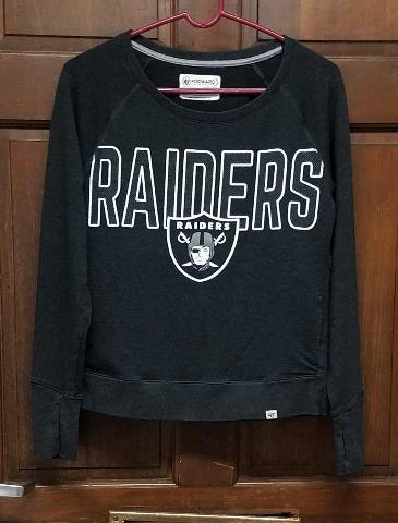 '47 Forward Oakland Raiders Black Long Sleeve Athletic Shirt Pockets Mens Size M