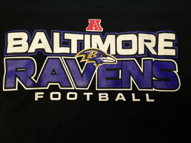 NFL Team Apparel Black Baltimore Ravens Graphic T-Shirt Size M Football