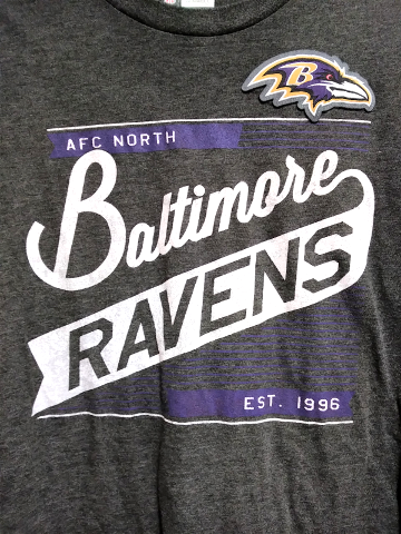 NFL Team Apparel  Charcoal Gray Baltimore Ravens T-Shirt Size L Football