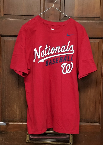Nike Tee Athletic Cut Red Washington Nationals Graphic T-Shirt Men's Size L