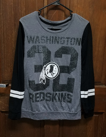 NFL Juniors Collection Washington Redskins Long Sleeve Gray Shirt Size L 11/13