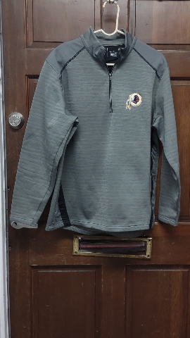 Antigua Gray Washington Redskins 1/4 Zip Pullover Jacket Size L Large