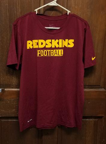 Nike Tee Athletic Cut Dri-Fit Washington Redskins Football T-Shirt Mens Sz L