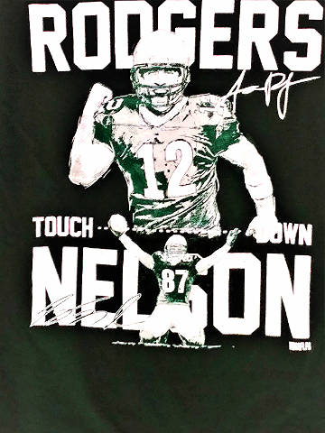 Green Bay Packers Green T-Shirt Aaron Rodgers Jordy Nelson Touchdown Size L NFL