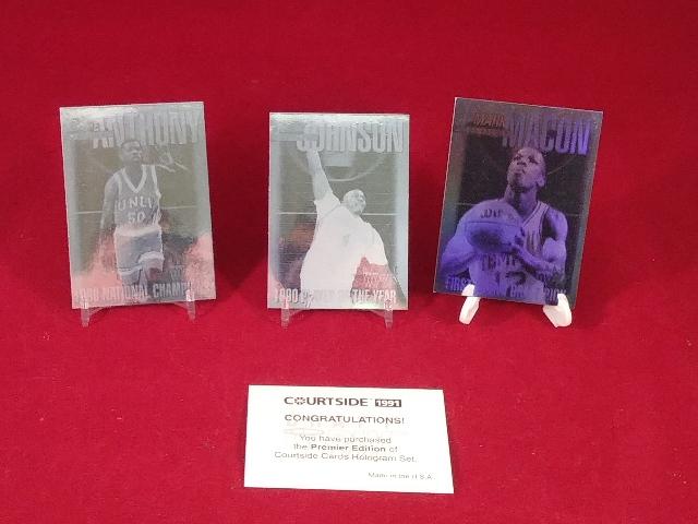 1991 Courtside Holograms Complete 3 Card Set w/ COA NBA Basketball