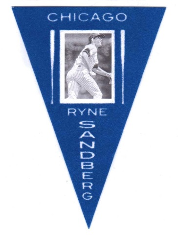 2013 Panini Cooperstown Pennants Blue #22 Ryne Sandberg Chicago Cubs Baseball