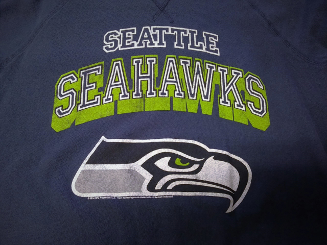 Navy Blue Seattle Seahawks Sweatshirt Lightweight Unsized Football NFL