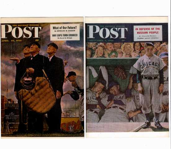 2 Norman Rockwell Saturday Evening Post Postcards The Dugout Bottom Of The Sixth