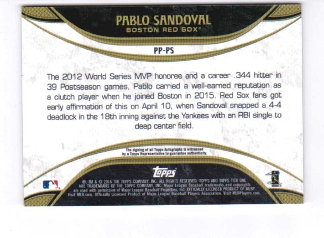 2016 Pablo Sandoval Topps Tier One Prime Performers Certified Autograph /25 Auto