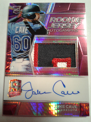 Jake Cave 2019 Panini Chronicles Spectra Neon Pink Prizm Patch Auto Rookie RC/49