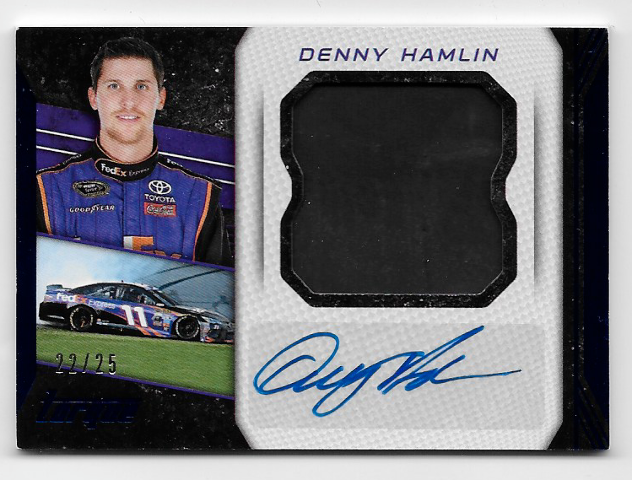 Denny Hamlin NASCAR 2016 Panini Torque tire piece auto /25 suit piece autograph