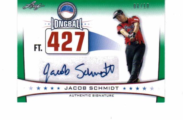 Jacob Schmidt 2013 Leaf Power Showcase Longball Autographs Green #JS2 auto 8/10