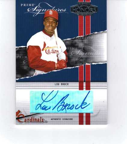 Lou Brock 2004 Playoff Honors Prime Signature Autograph #28 auto 68/100