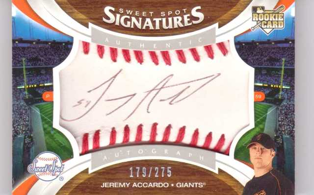 Sweet Spot Signatures Jeremy Accardo Auto RC /275