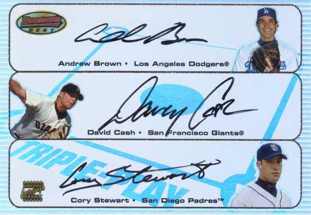 2003 Bowman's Best Triple Play Autographs #BCS Andrew Brown/David Cash/Cory Stewart