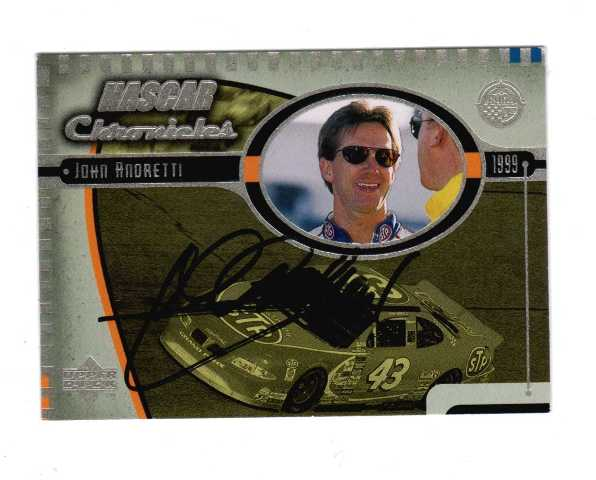 JOHN ANDRETTI 1999 Upper Deck Road to the Cup NASCAR Chronicles #NC15 Auto (b)  (x)