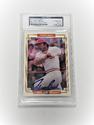 1984 Donruss Champions #51 Johnny Bench Autograph Auto On Card PSA Certified