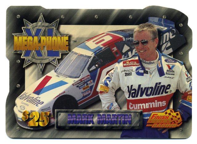 1996 Finish Line Mega-Phone XL Phone Cards #3 Mark Martin