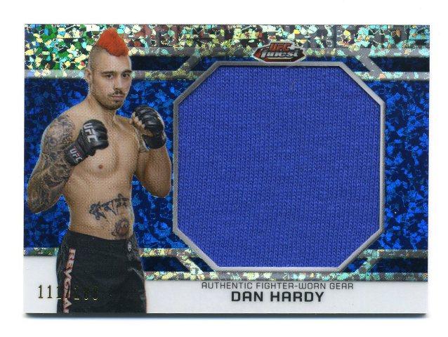 2013 Finest UFC Threads Jumbo Fighter Relics Refractors Blue Dan Hardy 111/188